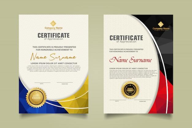Zestaw nowoczesny szablon certyfikatu z abstrakcyjnym wzorem