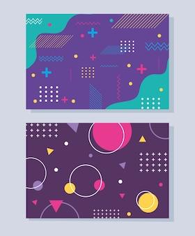 Zestaw nowoczesnych abstrakcyjnych banerów memphis, minimalistyczny kolor kształtuje geometryczną ilustrację
