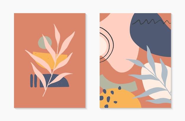 Zestaw nowoczesnych abstrakcyjnych ilustracji wektorowych z połowy wieku z organicznymi kształtami i roślinami
