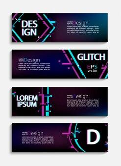 Zestaw nowoczesnych banerów i ulotek w stylu glitch