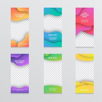 Zestaw nowoczesnych banerów liquid mobile instagram story