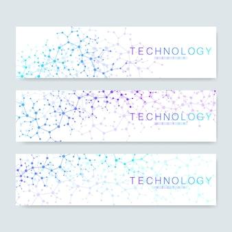 Zestaw nowoczesnych banerów naukowych. struktura cząsteczki nowoczesne abstrakcyjne tło dla medycyny, technologii, chemii, nauki. łączenie linii i kropek.