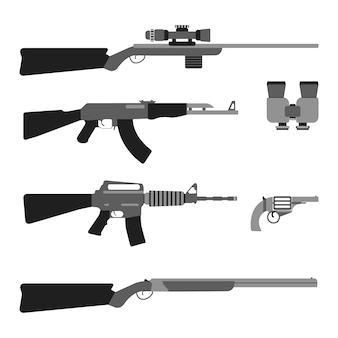 Zestaw nowoczesnych broni. sprzęt w stylu płaskim. pojedyncze bronie i narzędzia. ilustracji wektorowych.