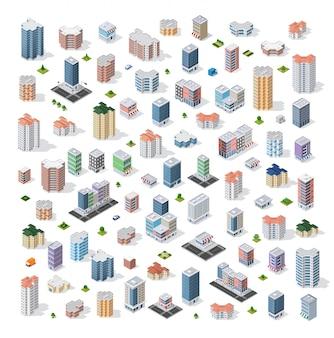 Zestaw nowoczesnych budynków izometrycznych