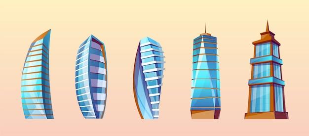 Zestaw nowoczesnych budynków w stylu cartoon. wieżowce miejskie, z zewnątrz