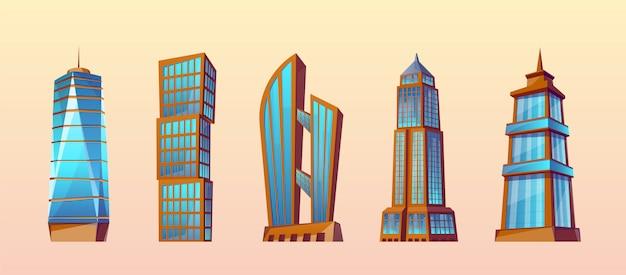 Zestaw nowoczesnych budynków w stylu cartoon. wieżowce miejskie, z zewnątrz.