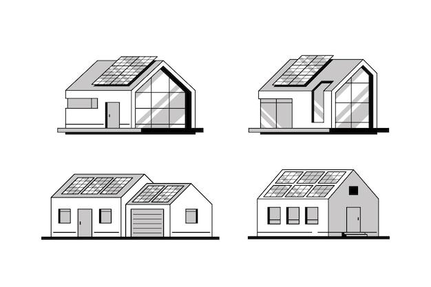 Zestaw nowoczesnych domów z panelami słonecznymi na dachu na białym tle.
