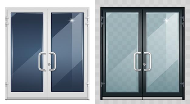 Zestaw nowoczesnych drzwi wejściowych w kolorze czarnym.
