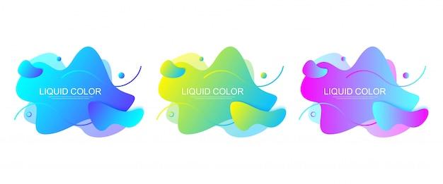 Zestaw nowoczesnych elementów graficznych w kształcie płynnych kropelek z geometrycznymi liniami. gradientowe kształty geometryczne: niebieski i zielony, czerwony i fioletowy. płynna plama z dynamicznym kolorem do ulotki, prezentacji.