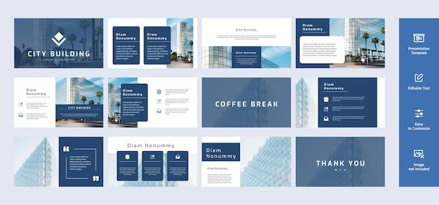 Zestaw nowoczesnych i minimalistycznych szablonów slajdów prezentacji z motywem w kolorze niebieskim.