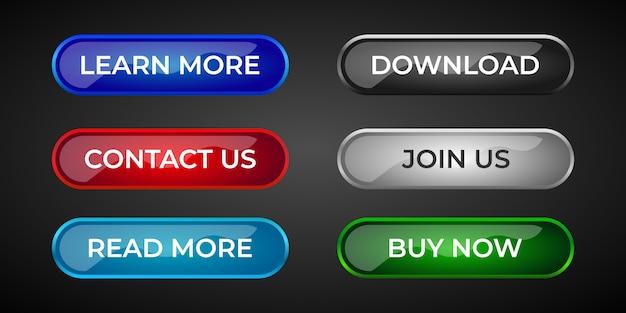 Zestaw nowoczesnych i profesjonalnych przycisków strony internetowej i interfejsu użytkownika z błyszczącym gradientowym efektem 3d