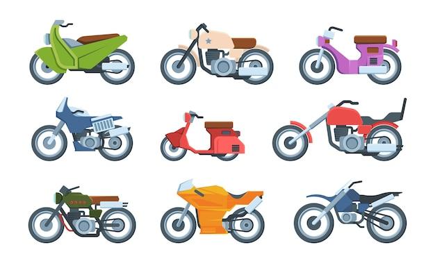 Zestaw nowoczesnych i retro motocykli płaskich ilustracji. kolekcja motocykli sportowych transport motosport. motorower, krążownik, helikopter.
