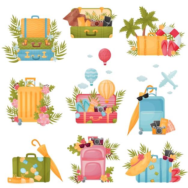 Zestaw nowoczesnych i staromodnych walizek w różnych kolorach.