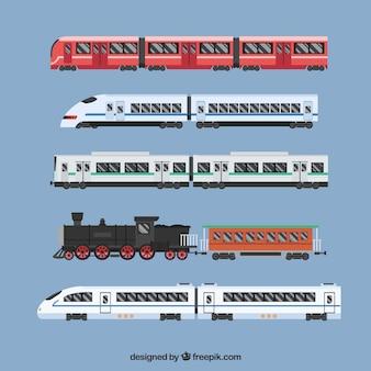 Zestaw nowoczesnych i zabytkowych pociągów w płaskim stylu