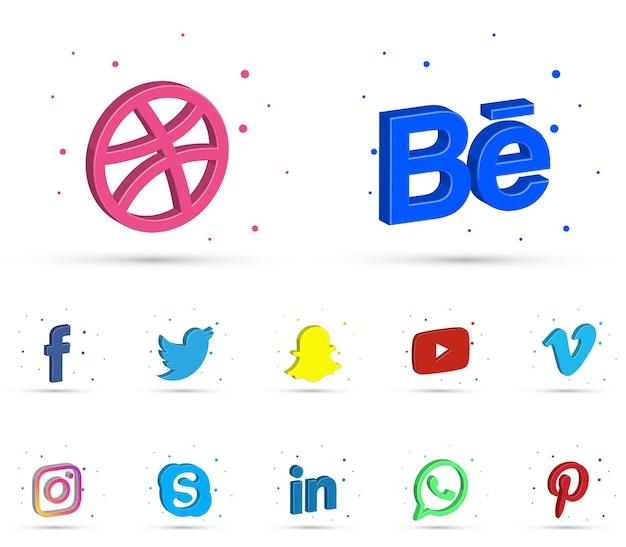 Zestaw nowoczesnych ikon 3d w mediach społecznościowych