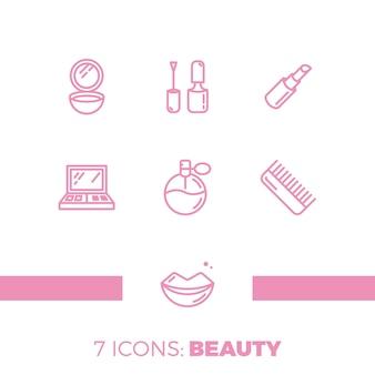 Zestaw nowoczesnych ikon kolekcji kosmetyków, urody, spa i symbole