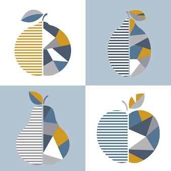 Zestaw nowoczesnych ilustracji geometrycznych owoców.