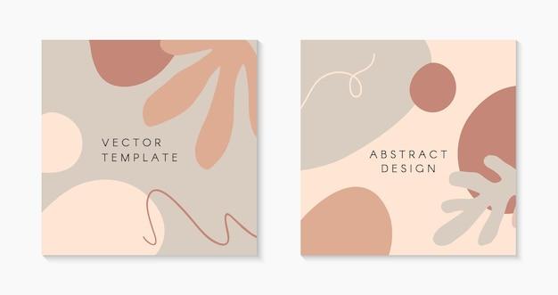 Zestaw nowoczesnych ilustracji wektorowych z ręcznie rysowanymi organicznymi kształtami, teksturami i elementami graficznymi. modne kreatywne tła dla postów i historii w mediach społecznościowych, banerów, projektów brandingowych, okładek