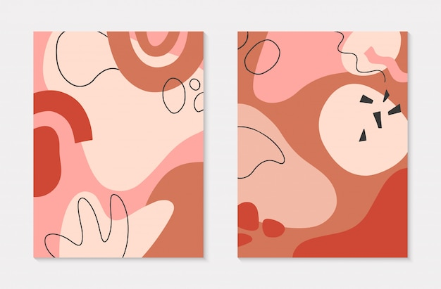 Zestaw nowoczesnych ilustracji z ręcznie rysowane organiczne kształty i tekstury w pastelowych kolorach