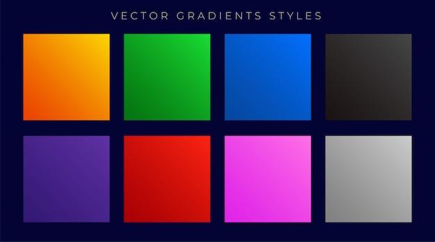 Zestaw nowoczesnych jasne kolorowe gradienty