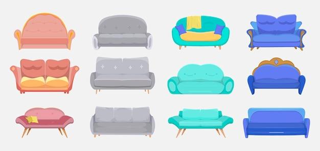 Zestaw nowoczesnych kanap. sofy hotelowe i domowe, meble pokojowe, tapczany do wnętrz wypoczynkowych. ilustracja kreskówka
