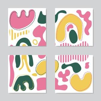 Zestaw nowoczesnych kolaży z ręcznie rysowanymi kolorowymi kształtami, teksturami i elementami graficznymi