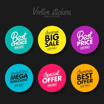 Zestaw nowoczesnych kolorowych etykiet na życzenia i promocje