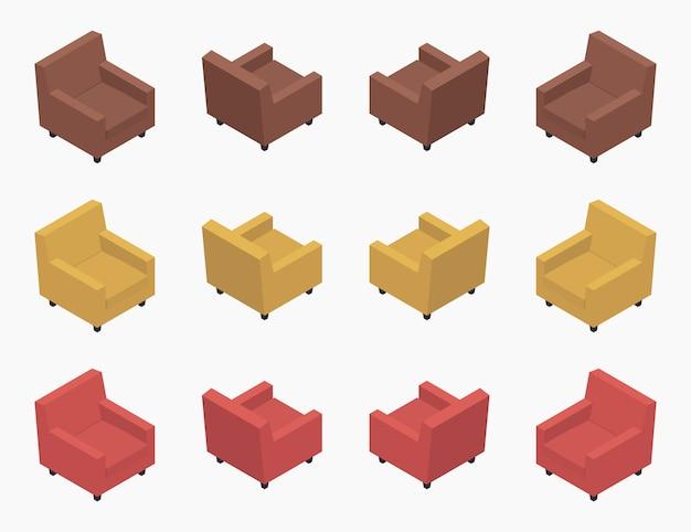 Zestaw nowoczesnych, kolorowych foteli izometrycznych