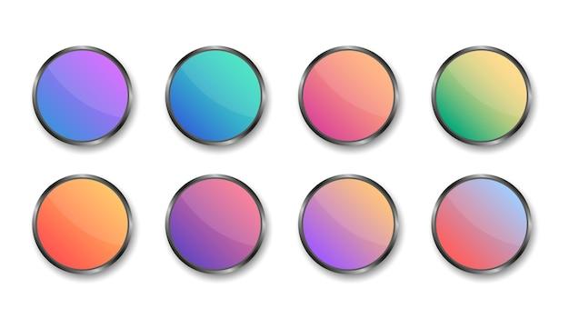 Zestaw nowoczesnych kolorowych okrągłych przycisków. pusty szablon metalowych przycisków internetowych. w przypadku witryny internetowej i interfejsu użytkownika.
