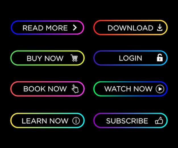 Zestaw nowoczesnych kolorowych przycisków akcji infografikę, strony internetowej, aplikacji mobilnej. przyciski nawigacyjne w kolorze gradientu. ikona przycisku