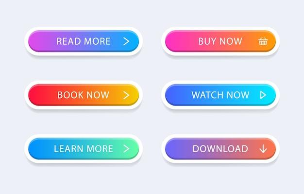 Zestaw nowoczesnych kolorowych przycisków internetowych.