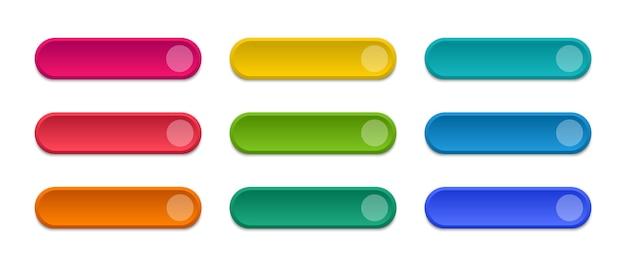 Zestaw nowoczesnych kolorowych przycisków. w przypadku witryny internetowej i interfejsu użytkownika. pusty szablon przycisków internetowych.