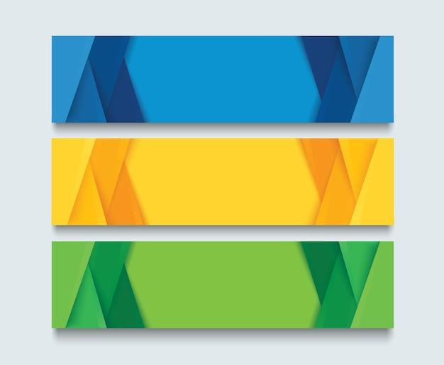 Zestaw nowoczesnych kolorowych szablonów bannerów niebieski pomarańczowy i zielony projekt transparentu