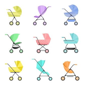 Zestaw nowoczesnych kolorowych wózków dziecięcych lub dziecięcych na kółkach