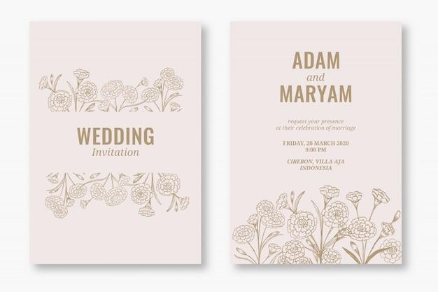 Zestaw nowoczesnych kwiatowy kontur ręcznie rysowane luksusowe zaproszenia ślubne lub szablony kart na ślub