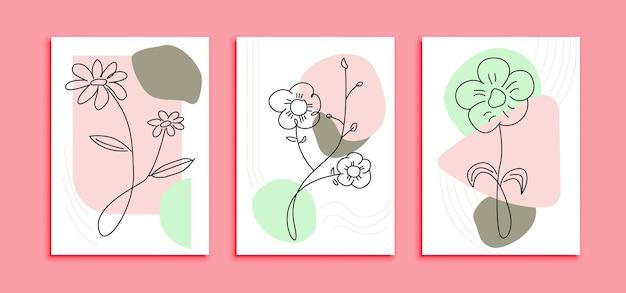 Zestaw nowoczesnych linii sztuki plakat szablon kwiaty. abstrakcyjna dekoracja ścienna z minimalistyczną koncepcją projektową w pastelowym kolorze