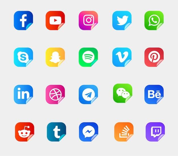 Zestaw nowoczesnych logo i ikon mediów społecznościowych