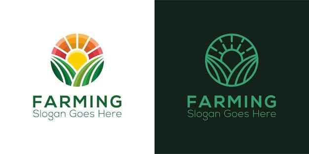 Zestaw Nowoczesnych Logo Rolnictwa Premium Wektorów