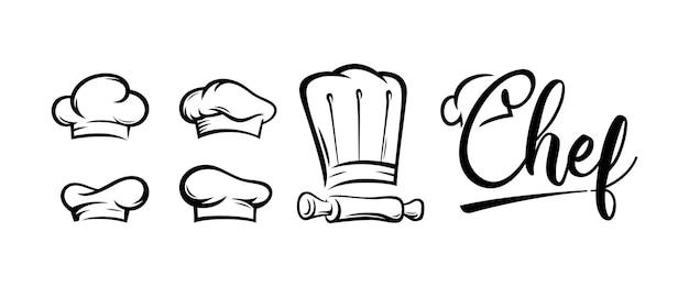 Zestaw nowoczesnych logo szefa kuchni restauracji