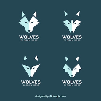 Zestaw nowoczesnych logo wilków