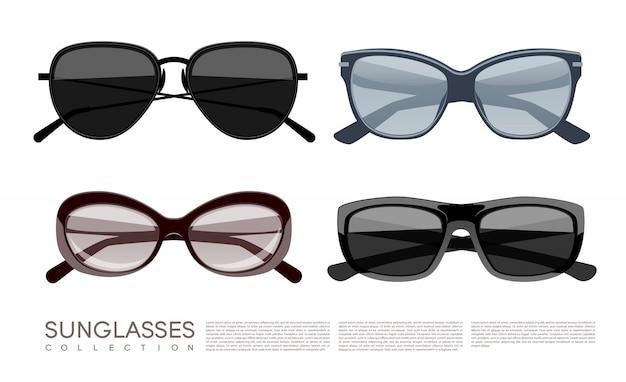 Zestaw nowoczesnych modnych stylowych okularów przeciwsłonecznych