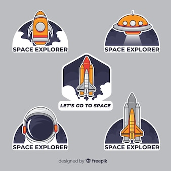 Zestaw nowoczesnych naklejek kosmicznych