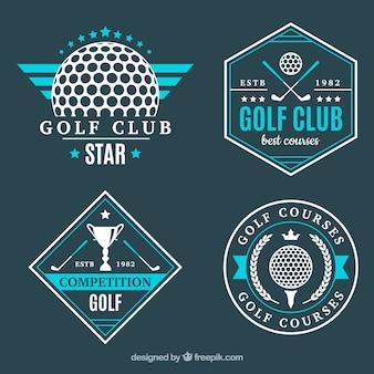Zestaw nowoczesnych niebieskich etykiet golfowych