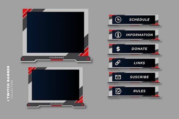 Zestaw nowoczesnych paneli do gier twitch dla szablonu projektu interfejsu użytkownika