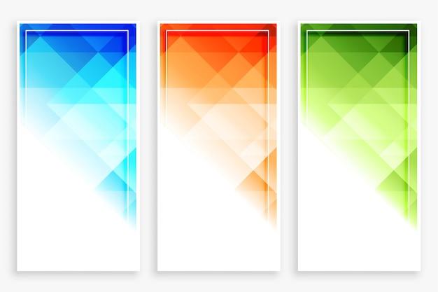Zestaw nowoczesnych pionowych banerów streszczenie biznes styl