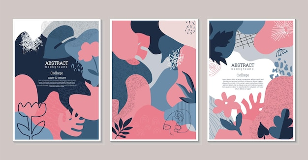 Zestaw nowoczesnych plakatów artystycznych z ręcznie rysowanymi teksturami