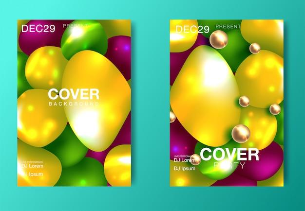 Zestaw nowoczesnych plakatów imprezowych. kolorowi abstrakcjonistyczni psychodeliczni gradientowi tła.