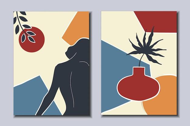 Zestaw nowoczesnych plakatów nowoczesna kobietaabstrakcyjna martwa natura