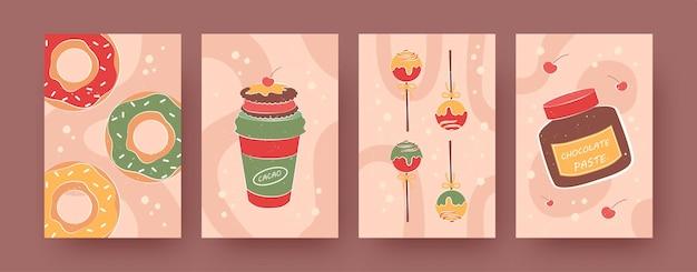 Zestaw nowoczesnych plakatów ze słodkim jedzeniem i piciem. pączki, gorące kakao, pastelowe ilustracje wektorowe pasty czekoladowej