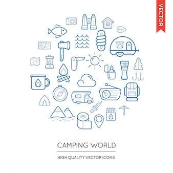 Zestaw nowoczesnych płaskich cienkich ikon camping napisane w okrągły kształt